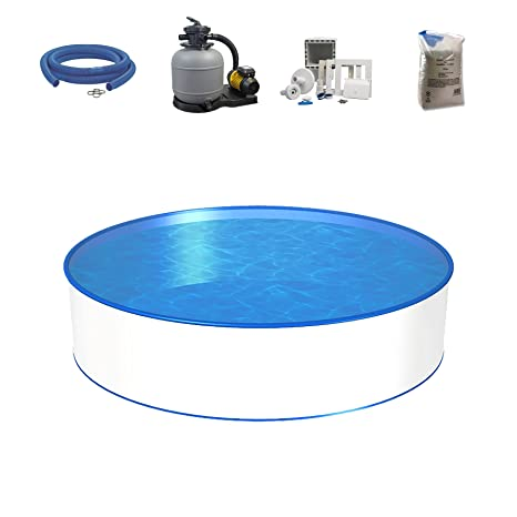 Conjunto de piscina, tamaño y profundidad a elegir, pared de acero de 0,