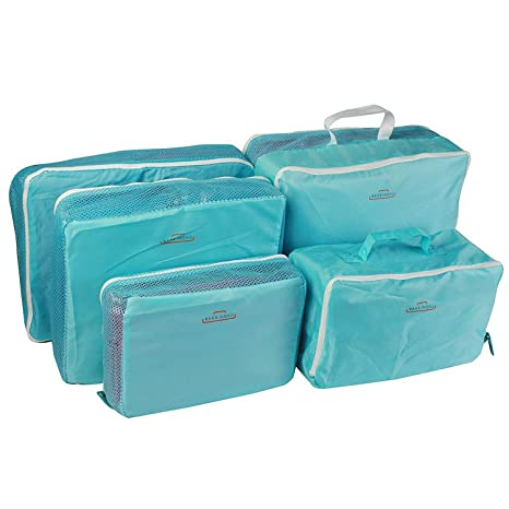 d3e512c2b18e Styleys 5 pcs Packing Cubes Travel Bags in Bag Organizer (Blue)  Amazon.in   Bags