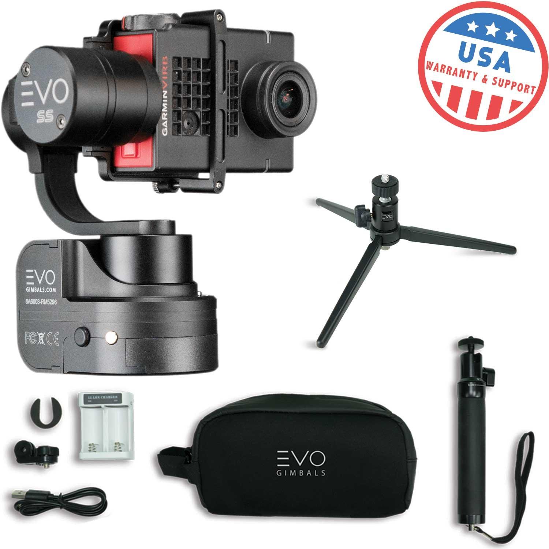 EVO SS 3 Axis Wearable Gimbal - Stabilizer for GoPro Hero4, Hero5, Hero6 Black, Yi 4K, Garmin Virb Ultra 30-1 Year USA Warranty - Bundle Includes EVO SS Gimbal, EVO GS-75 Tripod (2 Items) by EVO Gimbals