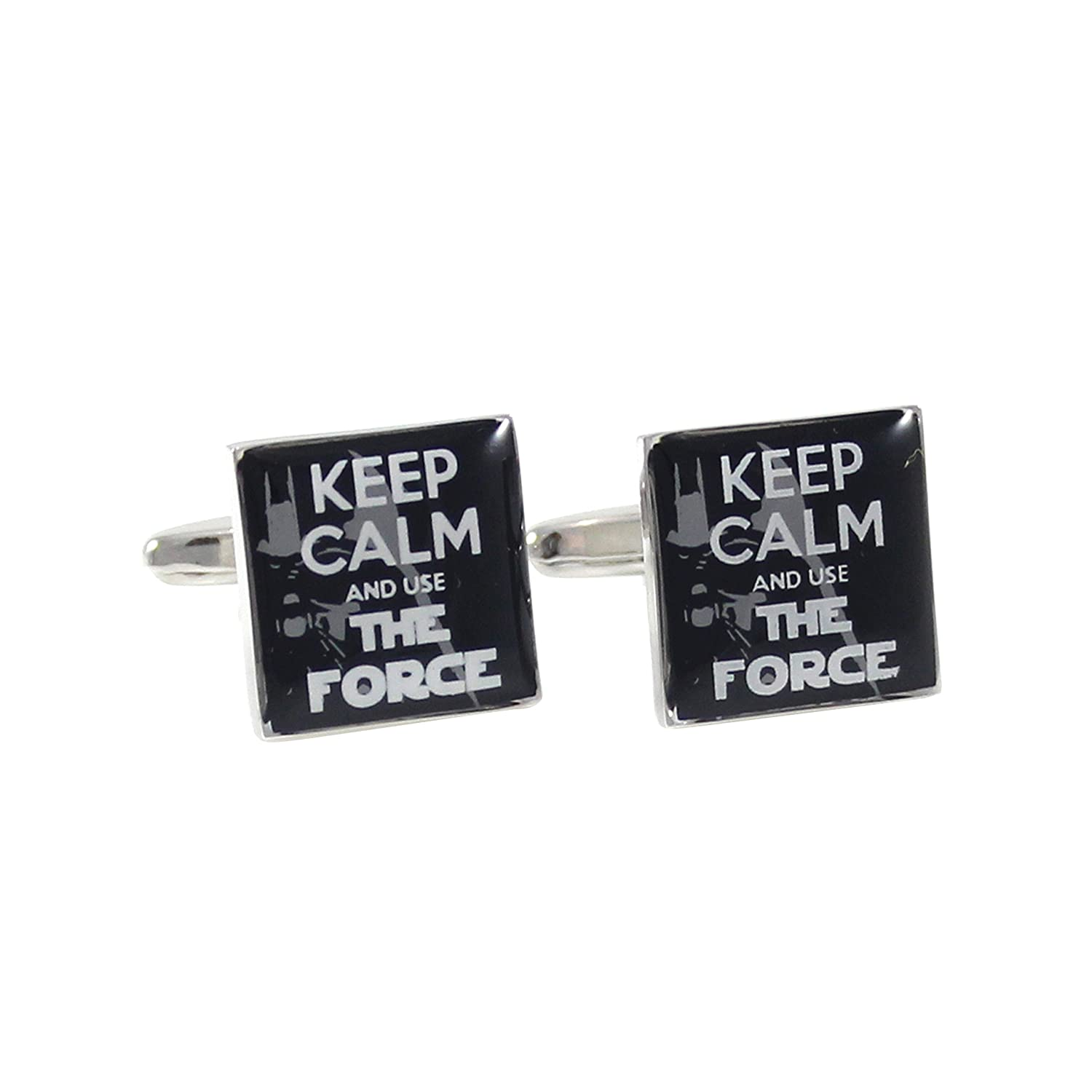 MENDEPOT Square Darth Vader Background Keep Calm And Use The Force Cuff links With Gift Box