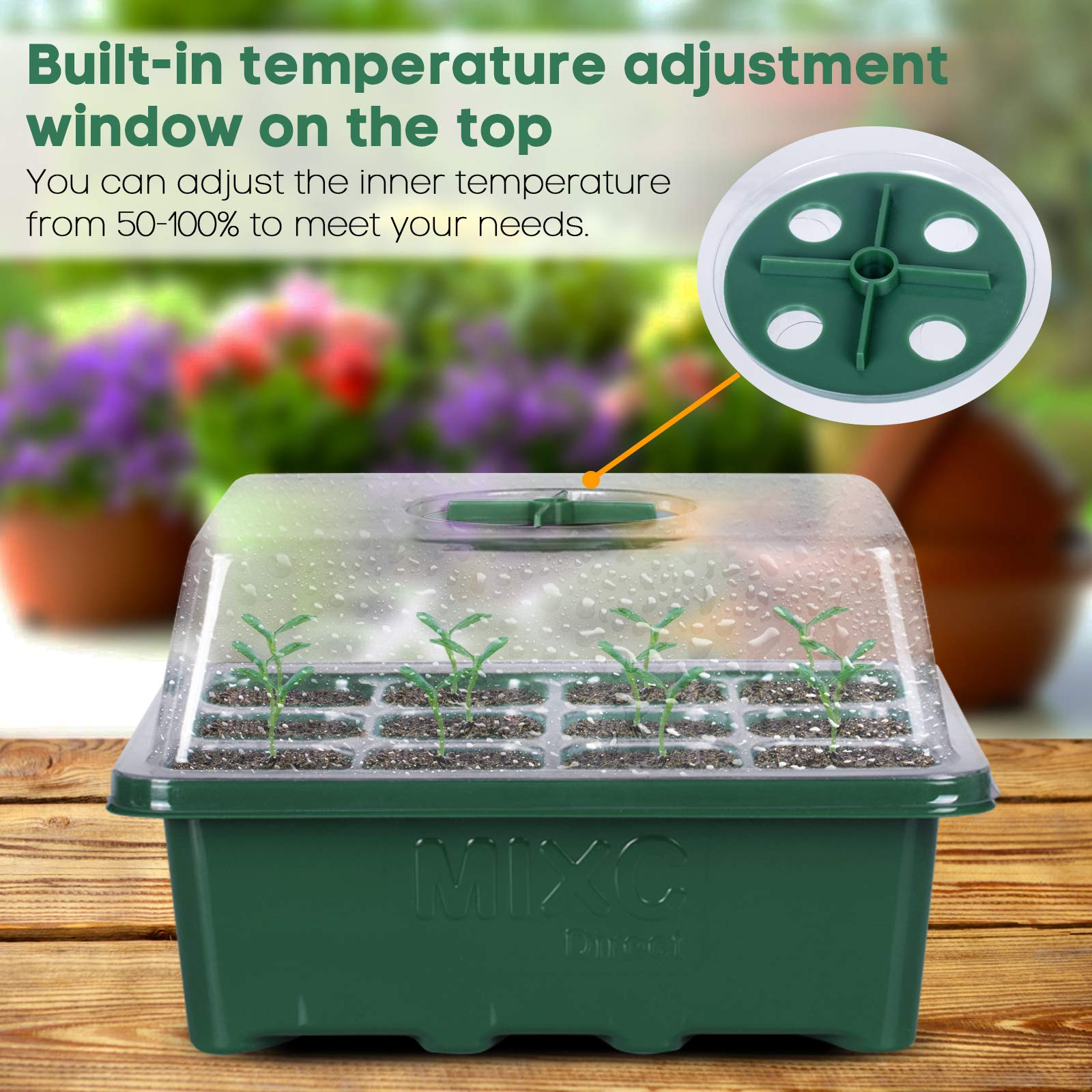 10-Pack Seed Trays Seedling Starter Tray, MIXC Humidity Adjustable Plant Germination Kit with Dome and Base Greenhouse Grow Trays Mini Propagator for Seeds Growing Starting (12 Cells per Tray)