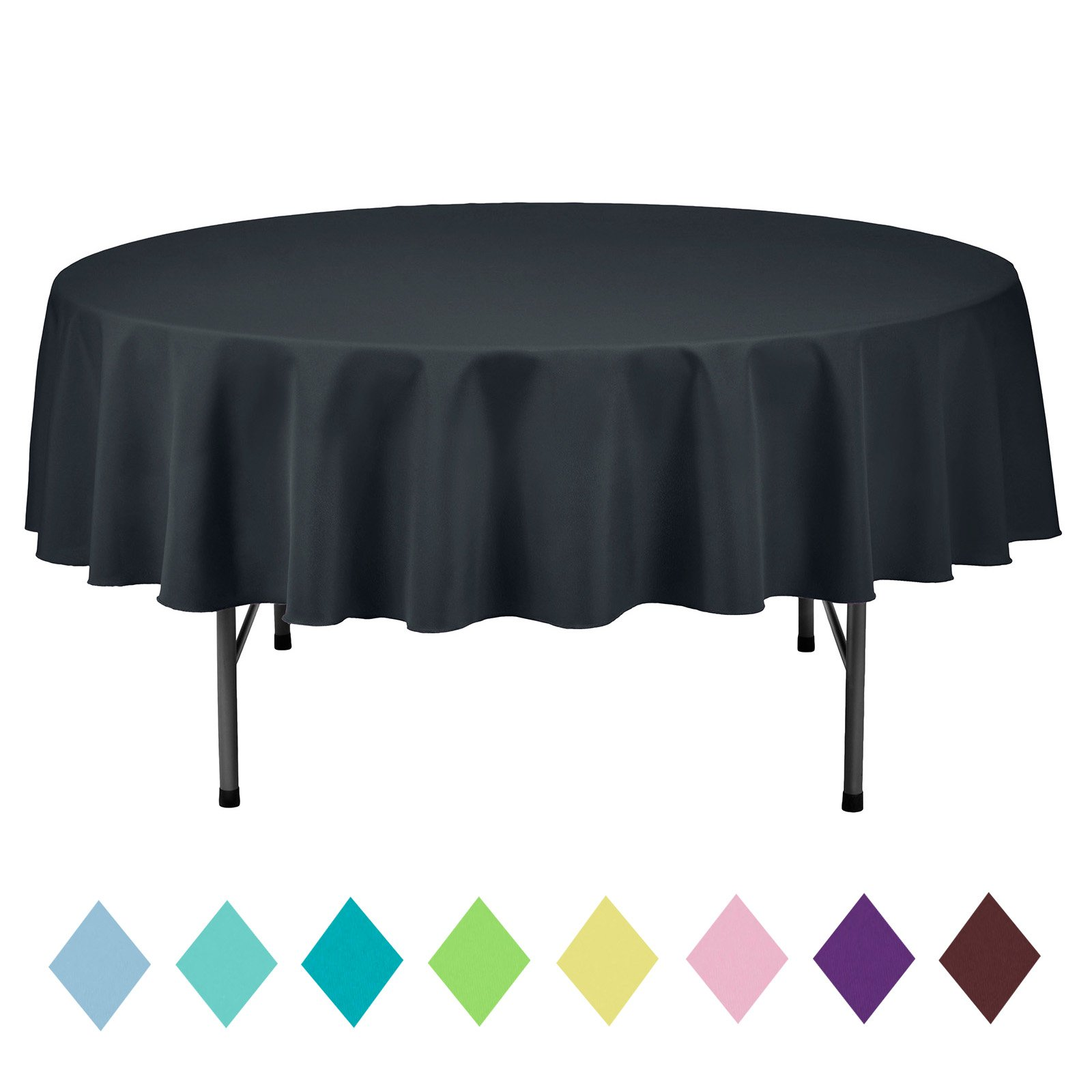 VEEYOO 70 inch Round Solid Polyester Tablecloth Wedding Restaurant Party Home, Dark Gray