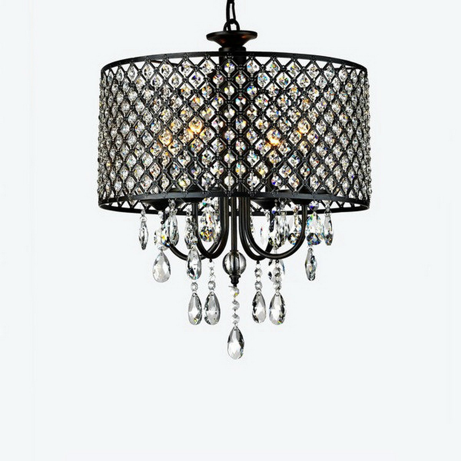 LightInTheBox Antique Bronze 4-light Round Crystal Chandelier with Black Metal-Net Drum Shade Home Ceiling Lamp Fixture Flush Mount