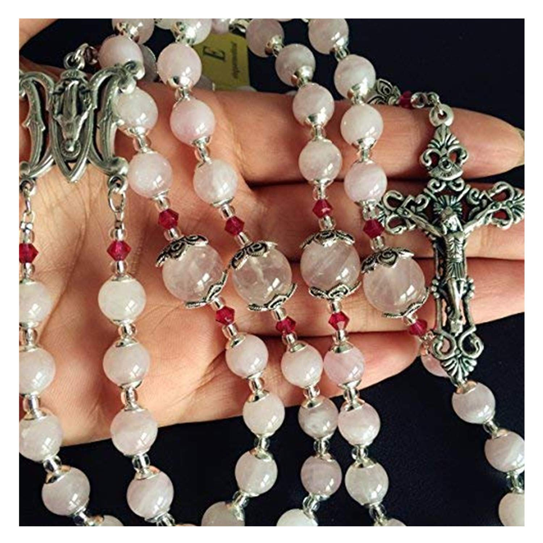 elegantmedical Handmade Pink Quartz Beads Catholic Rosary Cross Crucifix Necklace Box Sterling Silver Flower Beads caps