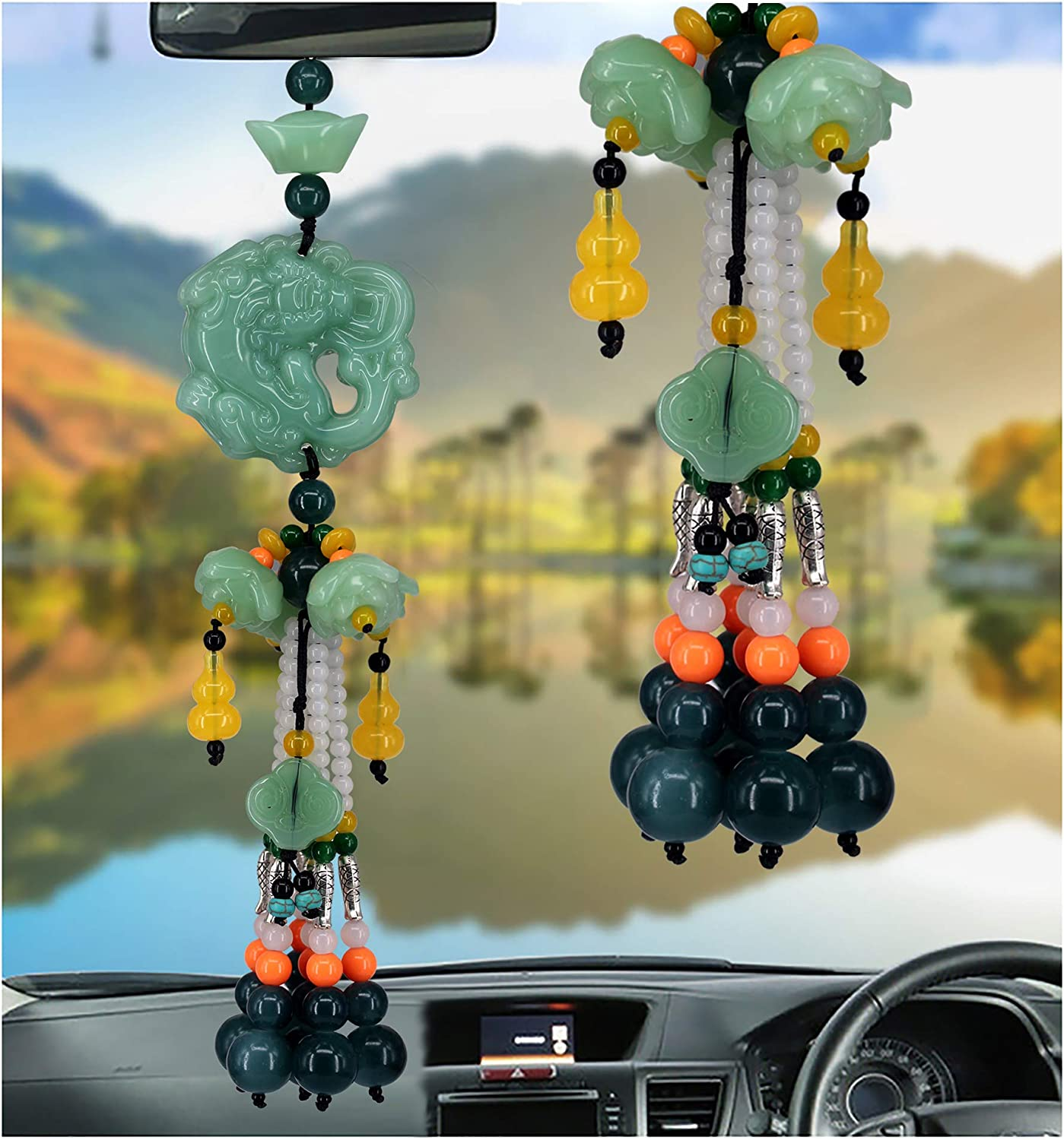 Dangling Ornaments Vehicle Accessory Rearview Mirror Charms Pendant Brave Troops Crystal Lotus Car Pendant Amulet Pray for Luck Safety F-Brave Troops Red Car Hanging Decoration