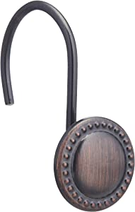 AmazonBasics Shower Curtain Hooks - Beaded Circle, Oil- Rubbed Bronze
