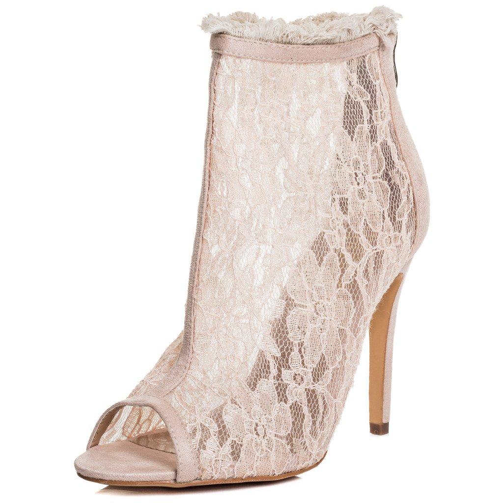 SPYLOVEBUY JESSICA Damen Reissverschluss High Heel Absatz Stiefeletten Schuhe Nackt - Synthetik Wildleder