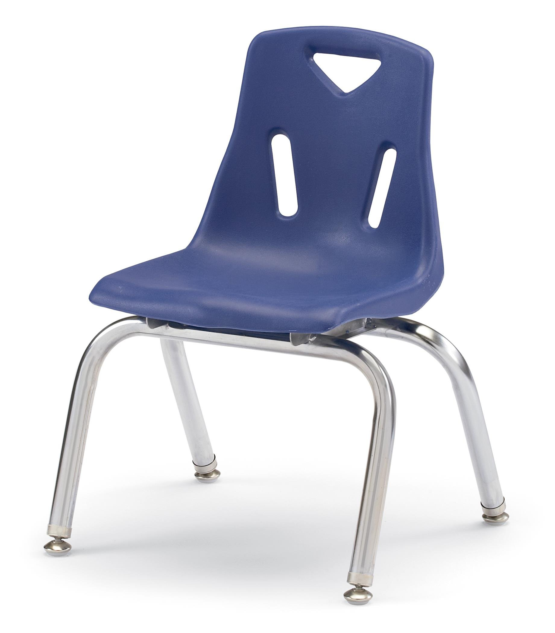 Berries 8140JC6003 Stacking Chairs with Chrome-Plated Legs, 10'' Ht, 15.5'' Height, 20'' Wide, 13.5'' Length, Blue (Pack of 6)
