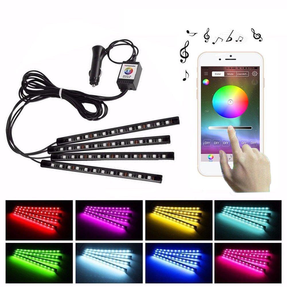 Car LED Strip Lights 4pcs 48 LED Bluetooth App Controller Interior Lights for Car Multi Color Music Car Strip Light Under Dash Lighting Kit with Sound Active Function