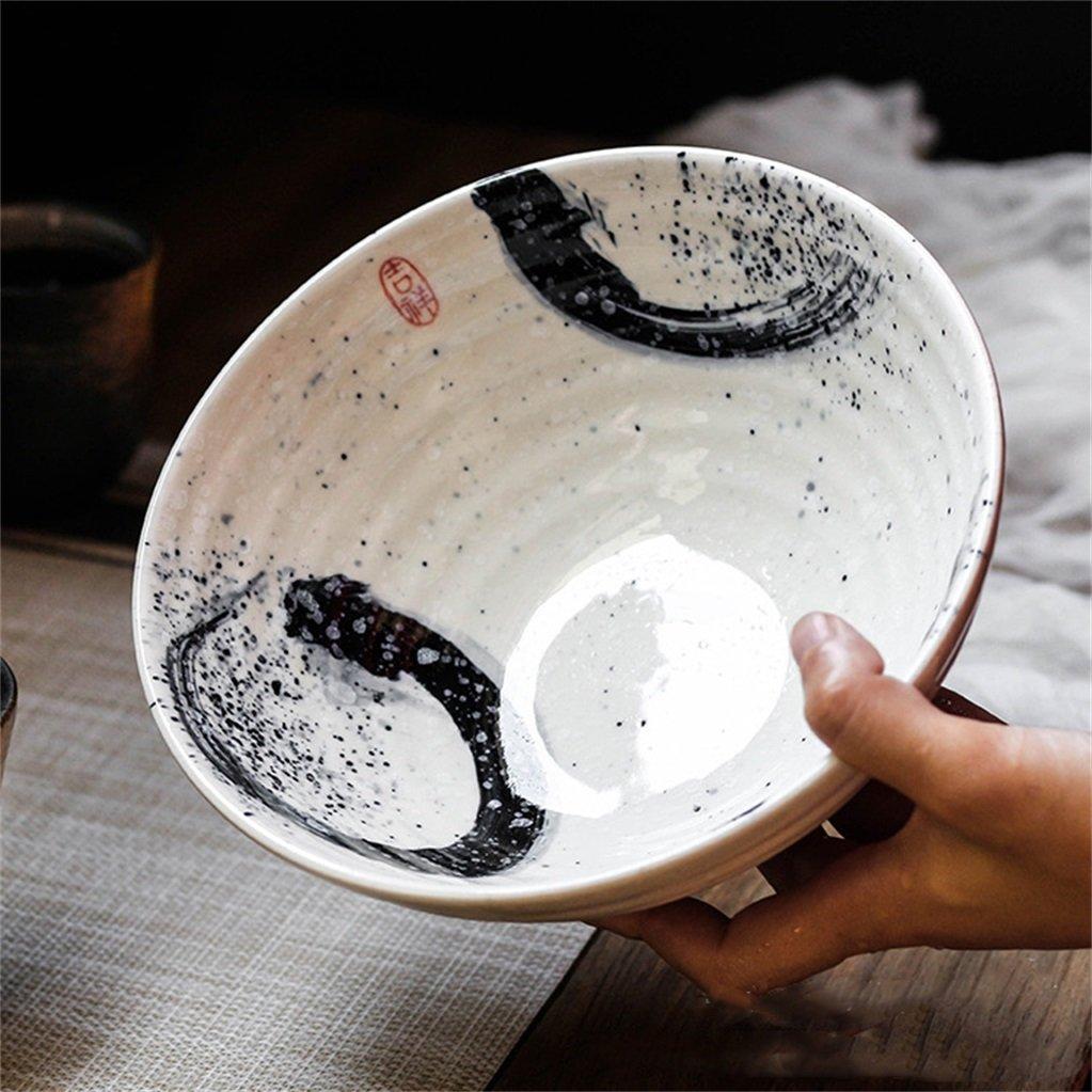 ZXH Ramen Bowl Keramik Suppenschale Retro Besteck Schüssel Kreative Salatschüssel