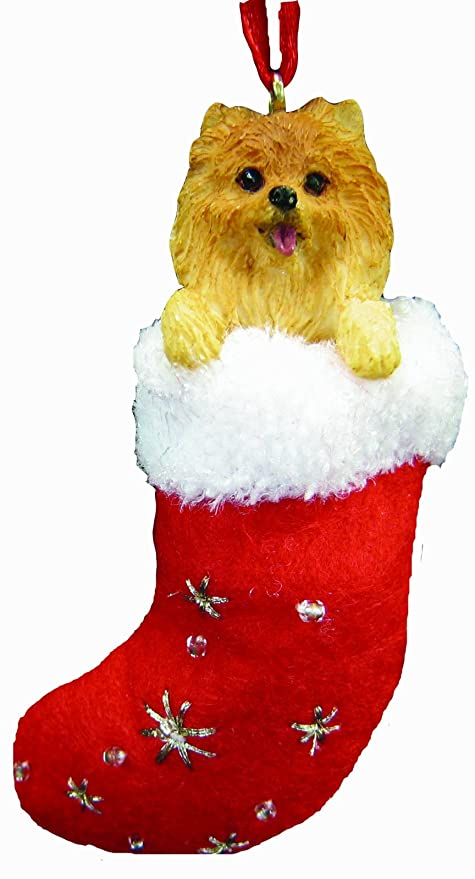 """Pomeranian Christmas Stocking Ornament with """"Santa's Little Pals""""  Hand Painted ... - Amazon.com: Pomeranian Christmas Stocking Ornament With"""