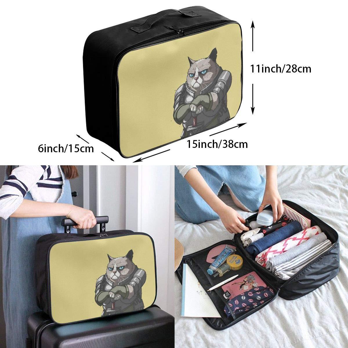 Grumpy Cat Japanese Bushido Travel Lightweight Waterproof Folding Storage Portable Luggage Duffle Tote Bag Large Capacity In Trolley Handle Bags 6x11x15 Inch