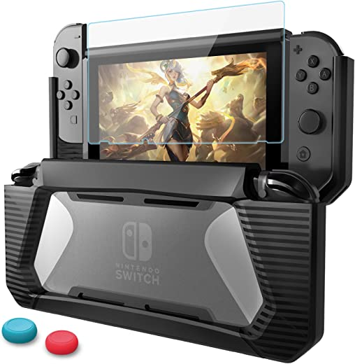 Compatible with Nintendo Switch Case with Screen Protector,AISITIN TPU Protective Heavy Duty Cover Case for Nintendo Switch with Shock-Absorption and Anti-Scratch (Black)