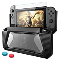 Nintendo Switch Case with Screen Protector,HEYSTOP TPU Protective Heavy Duty Cover Case for Nintendo Switch with Shock-Absorption and Anti-Scratch (Black)
