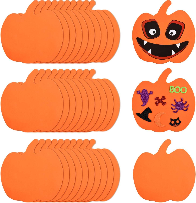 Indoor Outdoor Halloween Kids Foam 10 Pumpkin DIY Craft Art Kit Party Decoration