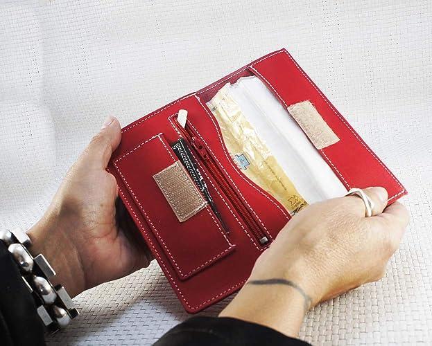 Bolsa para tabaco de liar de piel, color rojo. Tabaquera de ...