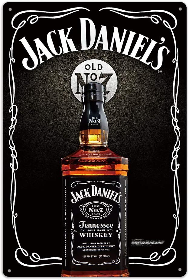 NaCraftTH Metal Iron Tin Sign Jack Daniels Whiskey Retro Classic Vintage Hanging Wall Art for Pub Bar Home Decor, 8