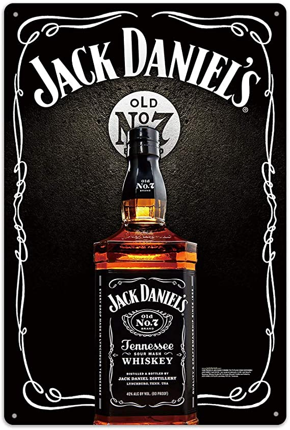 Jack Daniels Whiskey Hand Made Bottle Weathered Bar Wall Decor Metal Tin Sign