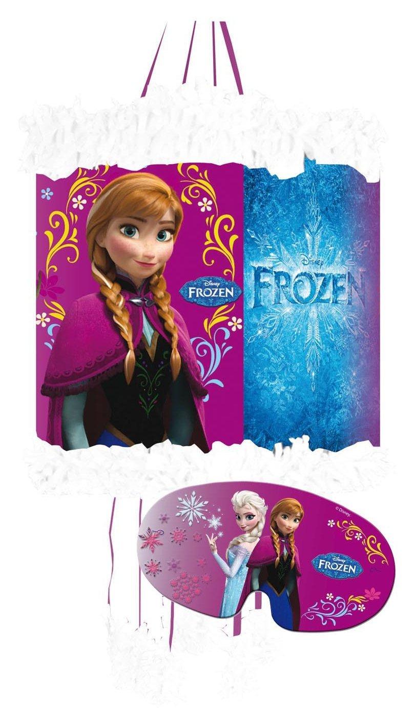 Pinata Set: * Disney Frozen - DIE EISKÖNIGIN * mit Pinata + Maske + 100-teiliges Süßigkeiten-Füllung No.1 von Carpeta // Spanische Zugpinata für bis zu 7 Kinder. Tolles Spiel für Kindergeburtstag Dekospass DS-Set-1-1257