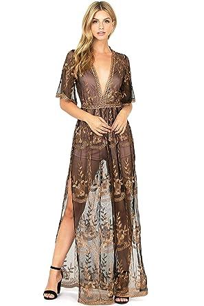 de5d42afe53 Haute Monde Women s Special Occasion Low Neckline Sheer Lace Maxi Dress (S