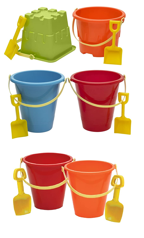 6 Pails//Shovels American Plastic Toys Beach Sand Castle Creation Tools
