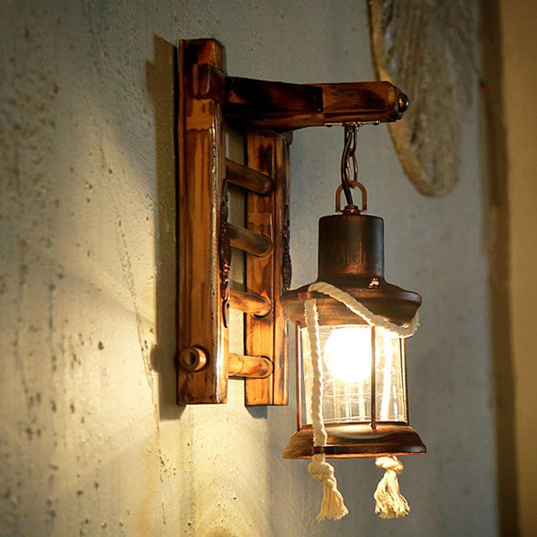 MDERTY LED Lámpara de pared retro vintage Buhardilla salón de té de bambú de pasillo Interior para sala de estar Pasillo Dormitorio Baño Corredor Escaleras Iluminación de pared: Amazon.es: Iluminación
