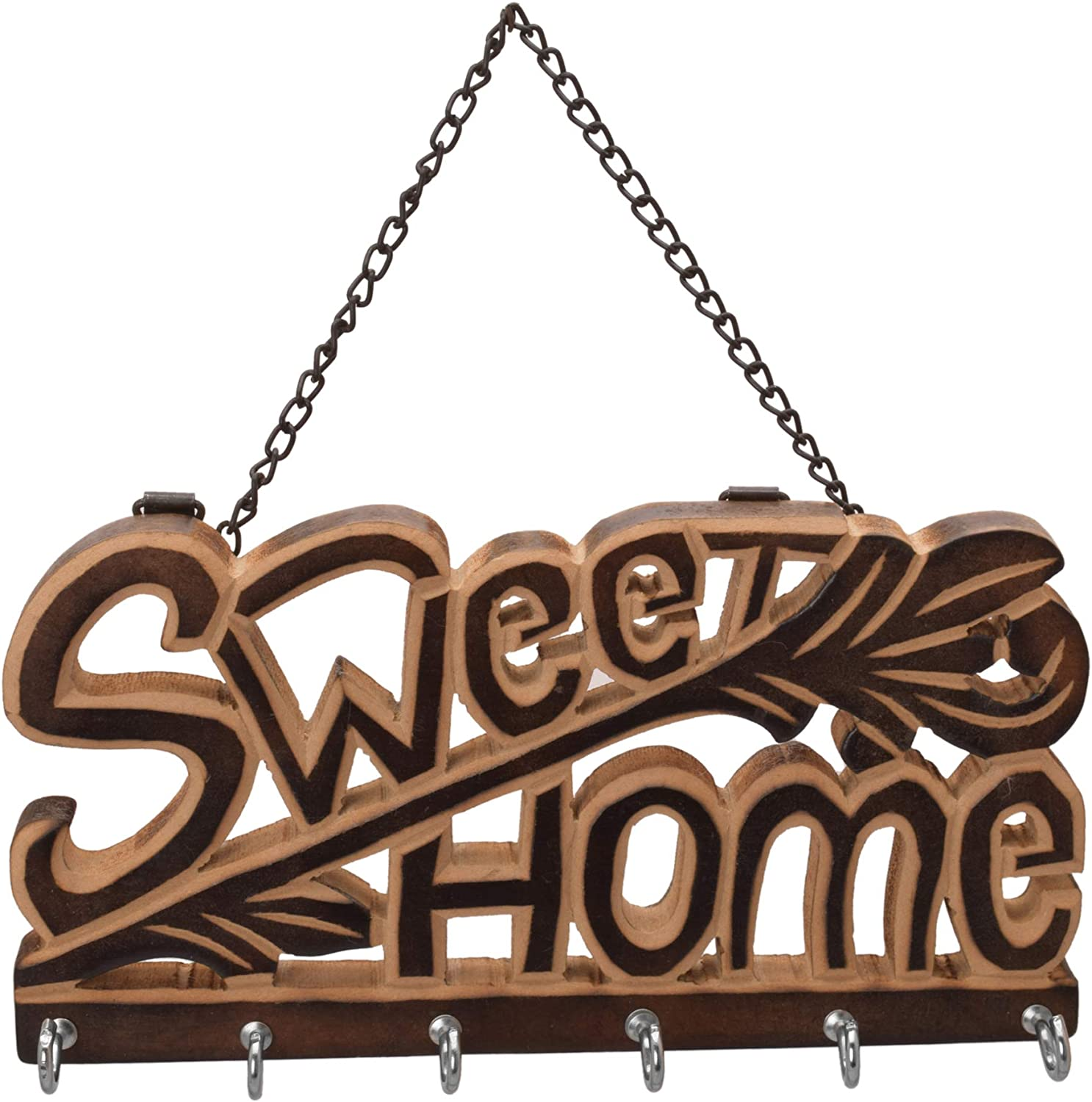 diollo Wooden Sweet Home Theme Wall Mountain Key Holder 6 Hooks Oragniser Wall Hanging