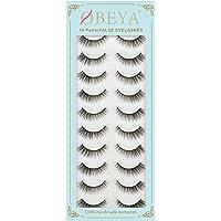 Obeya Natural False Lashes 10 Pairs False Eyelashes 100% Handmade Natural Cat Eye Lashes Easy to Apply Lightweight…