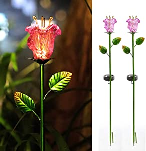 Joyathome Outdoor Solar Garden Stake Lights, 2 Pack Solar Powered Stake Lights with Pink Glass Lily Flower,Warm White LED Solar Metal Landscape Decorative Lights for Patio,Yard Decoration