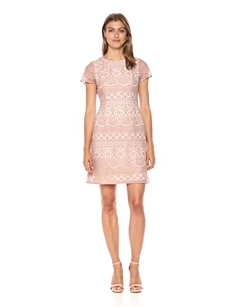 Adrianna Papell Women's Scalloped Striped Lace a-Line Dress Cap Sleeves, Pink/Almond, 2