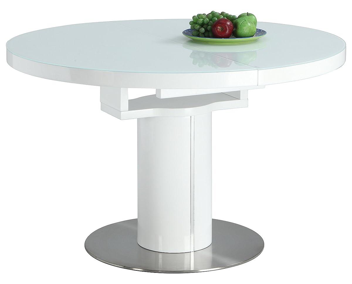 Milan NOEL-DT-WHT Noel Gloss White Round Wooden Dining Table