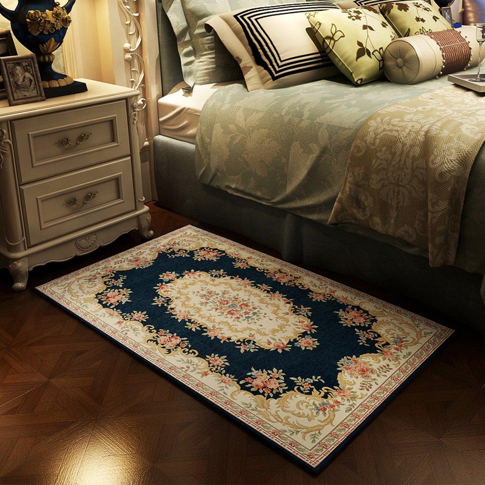 European Modern Country Style Jacquard Rug Bedroom Bedside Living Room Bathroom Entry Skid-resistant Rug Washable Floor Pad ( Color : 100150cm-e )