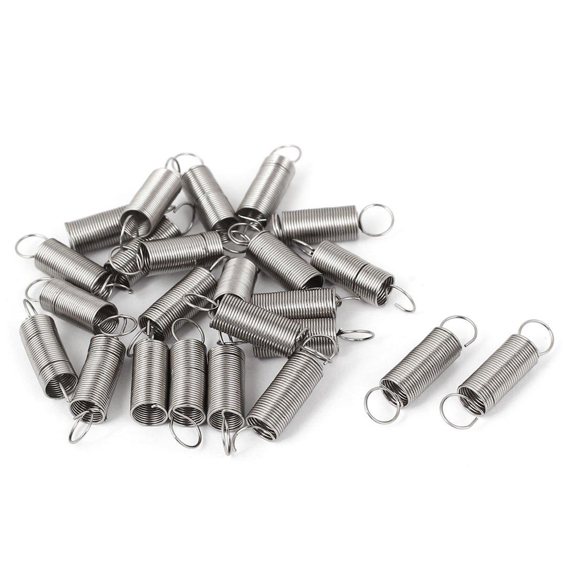 0.4mmx4.5x12mm Metal Dual Hook Small Tension Spring 50 pcs