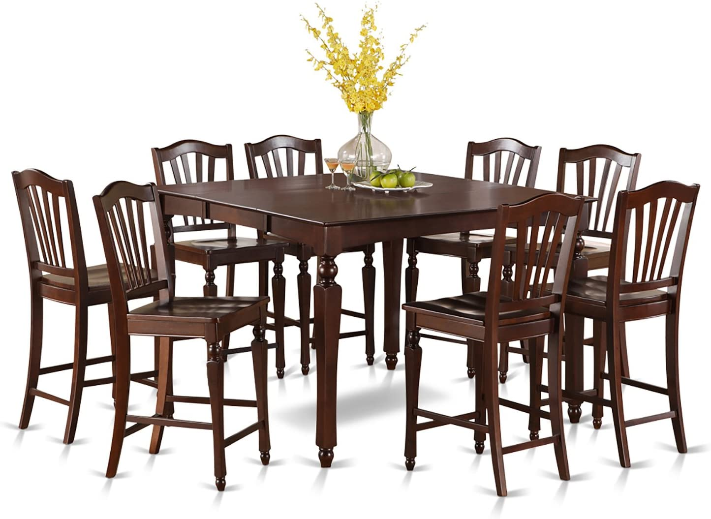 Amazon.com: 9 PC Counter Height Table Set-Square Gathering Tablealong With 8 Kitchen Counter Chairs: Furniture & Decor