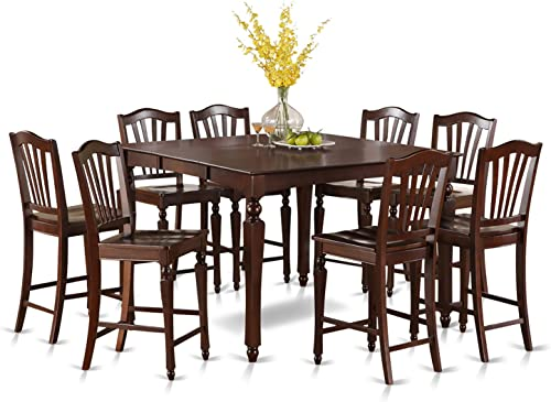 CHEL9-MAH-W 9 PC Counter height Table set-Square gathering Tablealong with 8 Kitchen counter Chairs