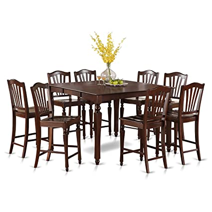 East West Furniture CHEL9-MAH-W 9-Piece Gathering Table Set  sc 1 st  Amazon.com & Amazon.com: East West Furniture CHEL9-MAH-W 9-Piece Gathering Table ...