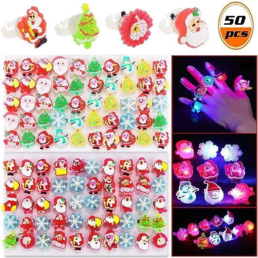 50PCS Navidad LED Luz de Dedo Anillo de Regalo Anillo de ...