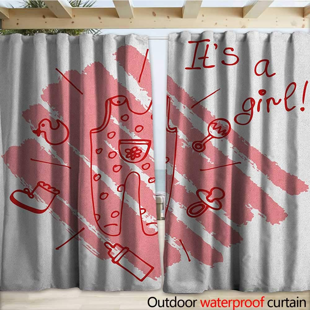 warmfamily Gender Reveal Drape for Pergola Little Baby Girl on The Pastel Backdrop Toys Mom Pacifier Greeting Print W120 x L84 Coral and Red