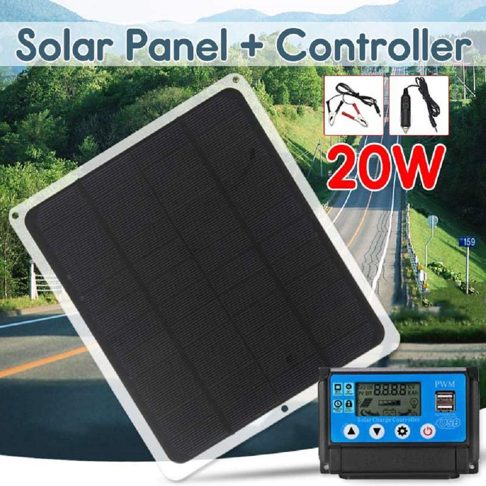 HDT Solar Charger 12V 20W Dual Output Solar Panel with Car Charger + 10/20/30/40/50A USB Solar Charger Controller for Outdoor Camping LED Light (with 40A Controller with 10A Controller)