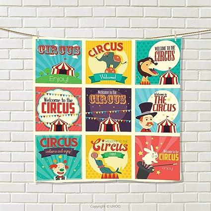 Anshuone Circus Decoración, Toalla de Mano, Bonito diseño de Animales de Circo con Tienda