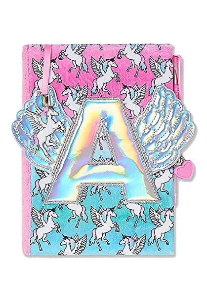 Amazon Justice For Girls Winged Unicorn Initial Journal Diary