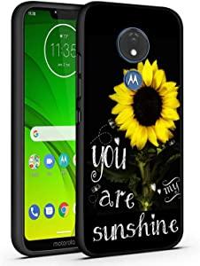 Moto G7 Case,Moto G7 Plus Case,You are My Sunshine Sunflower Slim Anti-Scratch Shockproof Leather Grain Soft TPU Back Protective Cover Case for Motorola Moto G7