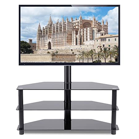Rfiver Corner Floor TV Stand with Swivel Mount for Most 32 -65 LED, LCD, OLED and Plasma Flat or Curved Screen TVs, Height Adjustable 3-in-1 Entertainment Stand in Black, TW2002