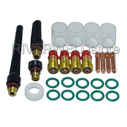 Kits de lentes de gas Stubby TIG # 10 Pyrex Cup Kit DB SR WP 17 18 ...