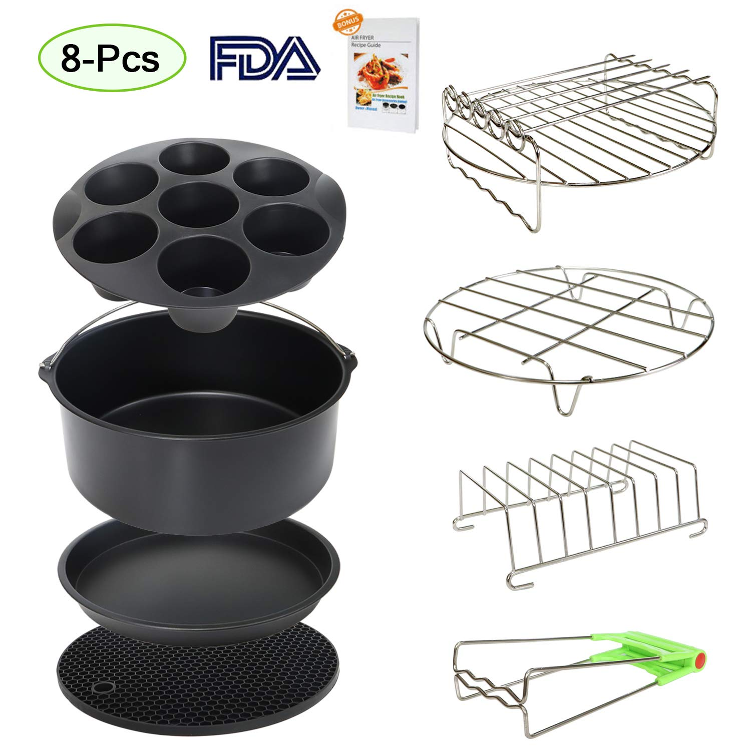 9 Inch XL Air Fryer Accessories 8Pcs Compatible with Phillips 965X Cozyna and Secura etc,Fit Most 5.3QT - 6.8QT Air Fryer