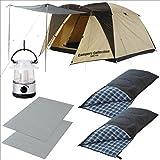 キャンパーズコレクション キャンプ6点セット(テント+ランタン+寝袋2個+マット2個) CSET-1315A
