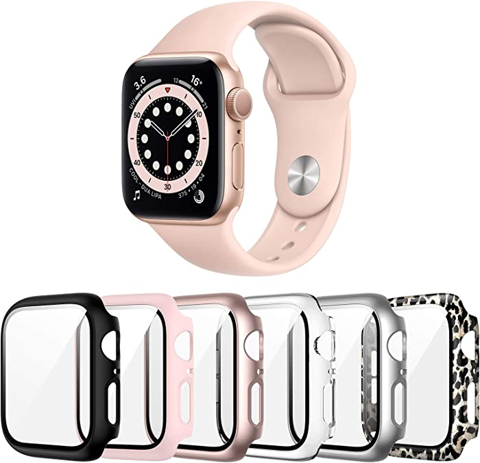 Landhoo 6 Pack case for Apple Watch Series SE/6/5/4 44mm Screen Protector with Tempered Glass, Hard PC HD Full Cover Protective iwatch.