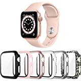 Landhoo 6 Pack case for Apple Watch Series SE/6/5/4 44mm Screen Protector with Tempered Glass, Hard PC HD Full Cover Protecti