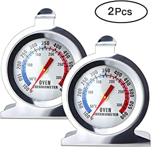 Fercaish 2 Pcs Instant Read OvenThermometer - Hangs Stainless Steel Grill Chef Smoker Thermometer Mechanical Oven Thermometer for Kitchen Cooking, BBQ Baking