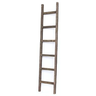 BarnwoodUSA Rustic 6 Foot Decorative Ladder - 100% Reclaimed Wood Ladder, Brown